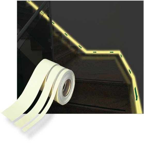 Rollos de cinta fotoluminiscente
